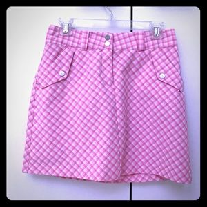 Nike Women's Pink and White Plaid Golf Shorts